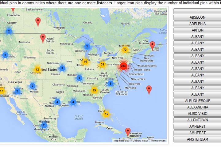 View of Geolocation Map in Audience Reporting